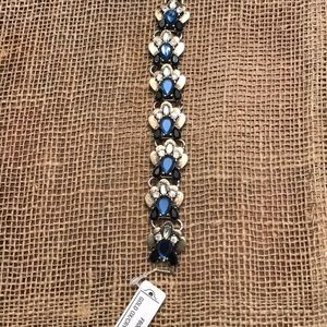 Jewelry - Gold tone with white & blue crystal bracelet. NWT
